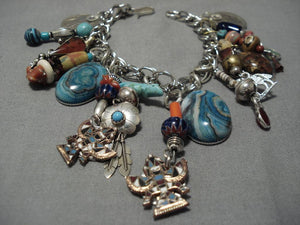 Amazing Vintage Native American Navajo Sterling Silver Kachina Charm Bracelet Old-Nativo Arts
