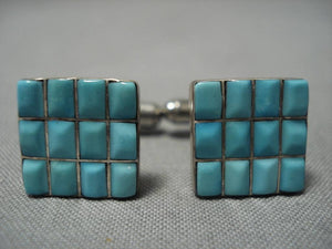 Amazing Vintage Native American Navajo Turquoise Inlay Sterling Silver Cufflinks Cuff Links-Nativo Arts