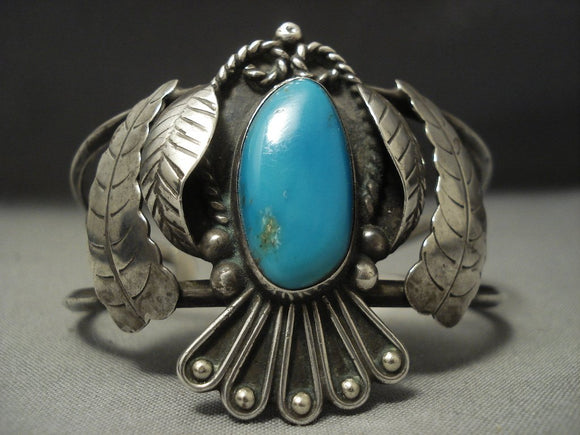 Amazing Vintage Navajo Blue Gem Turquoise Sterling Native American Jewelry Silver Bracelet Old-Nativo Arts