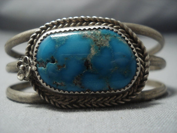 Amazing Vintage Navajo Blue Intense Turquoise Sterling Native American Jewelry Silver Bracelet Cuff Old-Nativo Arts