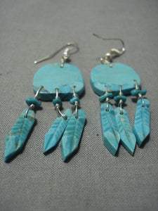 Amazing Vintage Navajo Blue Turquoise Sterling Native American Jewelry Silver Earrings-Nativo Arts
