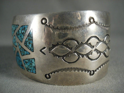 Amazing Vintage Navajo Channeled Turquoise Wall Native American Jewelry Silver Bracelet Jewelry-Nativo Arts