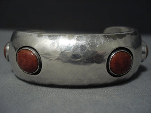 Amazing Vintage Navajo Coral Sterling Native American Jewelry Silver Bracelet Old-Nativo Arts