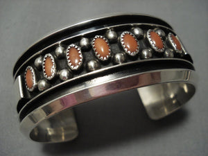 Amazing!! Vintage Navajo Coral Sterling Silver Bracelet Old Native American Jewelry-Nativo Arts