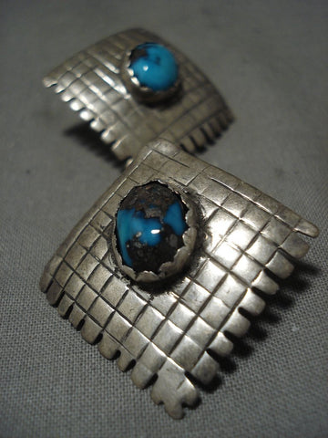 Amazing Vintage Navajo 'Domed Bisbee Turquoise' Native American Jewelry Silver Earrings-Nativo Arts