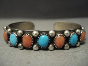 Amazing Vintage Navajo **domed Turquoise Coral** Sterling Native American Jewelry Silver Bracelet-Nativo Arts