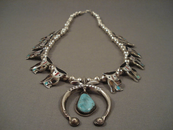 Amazing Vintage Navajo Horseshoe Pendant Owl Sterling Native American Jewelry Silver Necklace