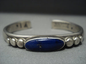 Amazing Vintage Navajo Lapis Orville Tsinnie Sterling Native American Jewelry Silver Bracelet-Nativo Arts