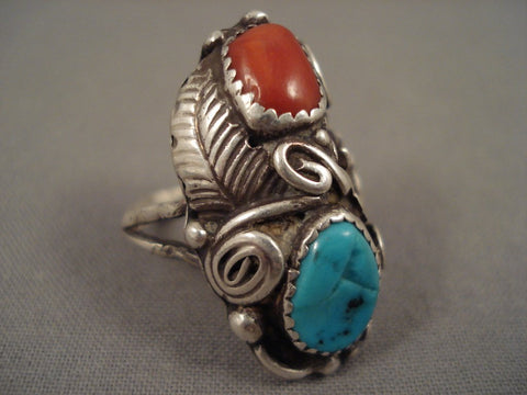 Amazing Vintage Navajo Lucy Turquoise Coral Native American Jewelry Silver Leaf Ring Old-Nativo Arts