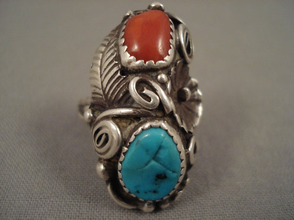Amazing Vintage Navajo Lucy Turquoise Coral Native American Jewelry Silver Leaf Ring Old