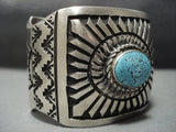 Amazing Vintage Navajo Native American Jewelry jewelry Concentric Circles Turquoise Sterling Silver Bracelet-Nativo Arts