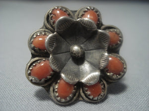 Amazing Vintage Navajo Native American Jewelry jewelry Coral Sterling Silver Ring Old-Nativo Arts