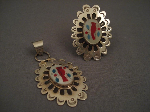 Amazing Vintage Navajo Native American Jewelry jewelry Matching Cardinal Pendant And Ring-Nativo Arts