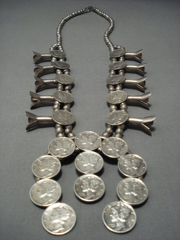 Amazing Vintage Navajo Native American Jewelry jewelry Sterling Silver Dime Squash Blossom Necklace-Nativo Arts