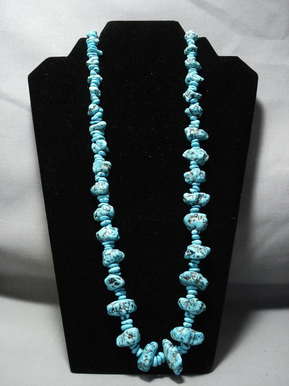 Amazing Vintage Navajo Native American Jewelry jewelry Turquoise Nuggets Sterling Silver Necklace-Nativo Arts