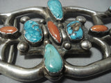 Amazing Vintage Navajo Native American Jewelry jewelry Turquoise Sterling Silver Buckle-Nativo Arts
