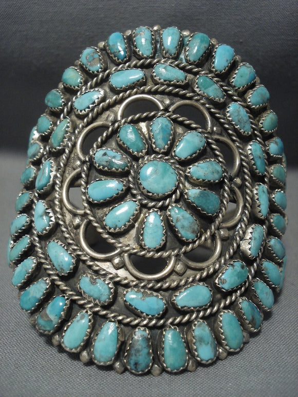 Amazing Vintage Navajo Native American Jewelry jewelry Turquoise Tso Family Sterling Silver Bracelet-Nativo Arts