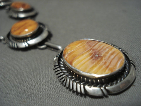Amazing Vintage Navajo Spiny Oyster Native American Jewelry Silver Necklace-Nativo Arts