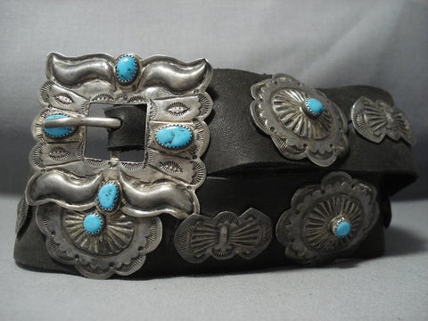 Amazing Vintage Navajo Sterling Native American Jewelry Silver Concho Belt Old Pawn-Nativo Arts
