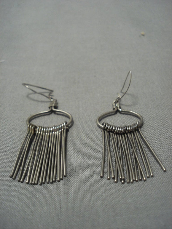 Amazing Vintage Navajo Sterling Native American Jewelry Silver Earrings-Nativo Arts