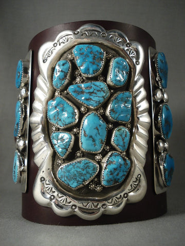 Amazing! Vintage Navajo 'Turquoise Burst' Native American Jewelry Silver Ketoh Bracelet-Nativo Arts