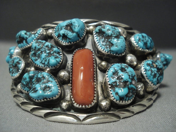 Amazing!! Vintage Navajo Turquoise Coral Sterling Native American Jewelry Silver Bracelet-Nativo Arts