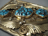 Amazing!! Vintage Navajo Turquoise Yazzie Sterling Silver Native American Jewelry Buckle-Nativo Arts
