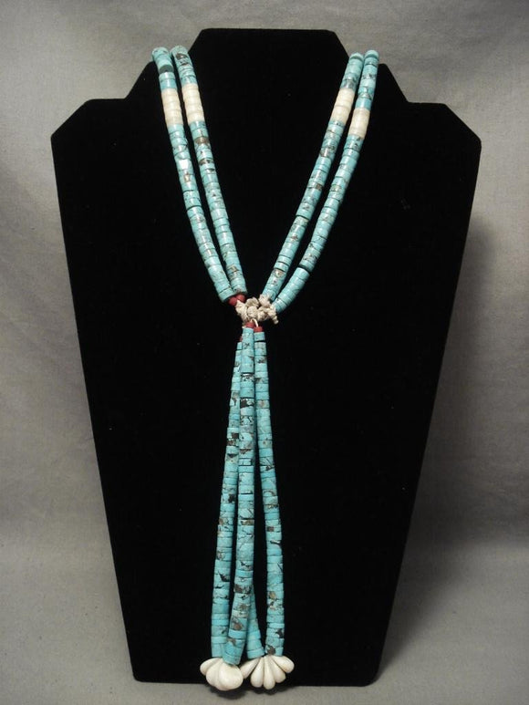Amazing Vintage Santo Domingo Spider Turquoise Necklace-Nativo Arts