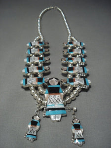 Amazing Vintage Zuni Corn Maiden Turquoise Sterling Native American Jewelry Silver Necklace-Nativo Arts