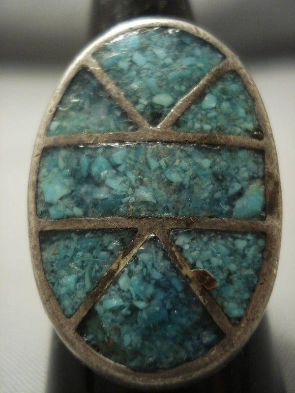Amazing Vintage Zuni/ Navajo Turquoise Inlay Thick Native American Jewelry Silver Ring-Nativo Arts