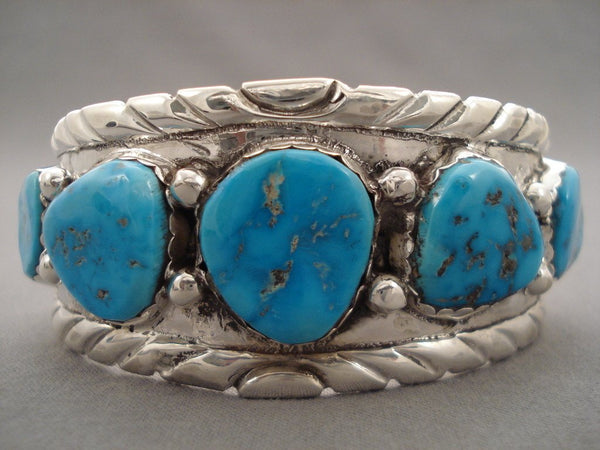 Amazing Vintage Zuni Simplicio Turquoise Native American Jewelry Silver Bracelet