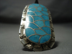 Amazing Vintage Zuni Turquoise Setrling Native American Jewelry Silver Ring Old-Nativo Arts