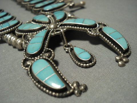 Amazing Vintage Zuni Turquoise Sterling Native American Jewelry Silver Squash Blossom Necklace-Nativo Arts