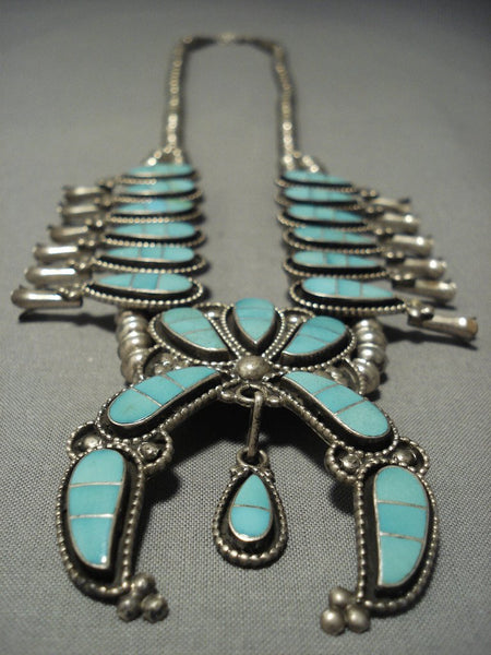 Amazing Vintage Zuni Turquoise Sterling Native American Jewelry Silver Squash Blossom Necklace