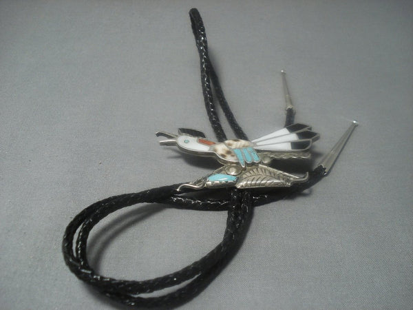 Amazing Vintage Zuni Turquoise Sterling Silver Bolo Tie-Nativo Arts