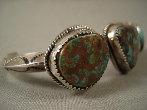 Arizona Living Treasure Vintage Navajo Royston Turquoise Native American Jewelry Silver Bracelet-Nativo Arts