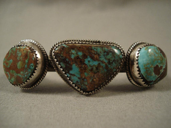Arizona Living Treasure Vintage Navajo Royston Turquoise Native American Jewelry Silver Bracelet