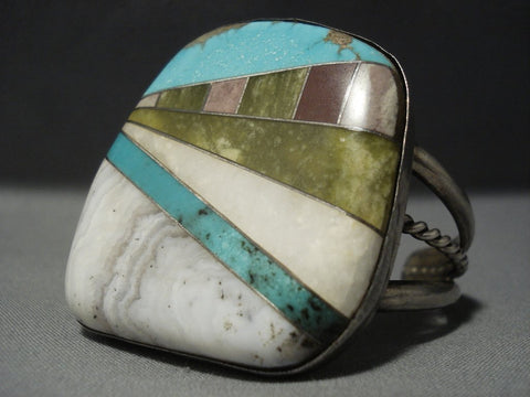 Artistic **interstate Walls** Turquoise Vintage Navajo Mosaic Native American Jewelry Silver Bracelet-Nativo Arts