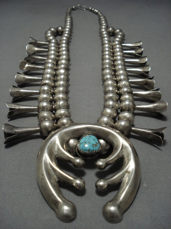 Astonishing Vintage Native American Jewelry Navajo Sterling Silver Squash Blossom Necklace- 208 Grams!!-Nativo Arts