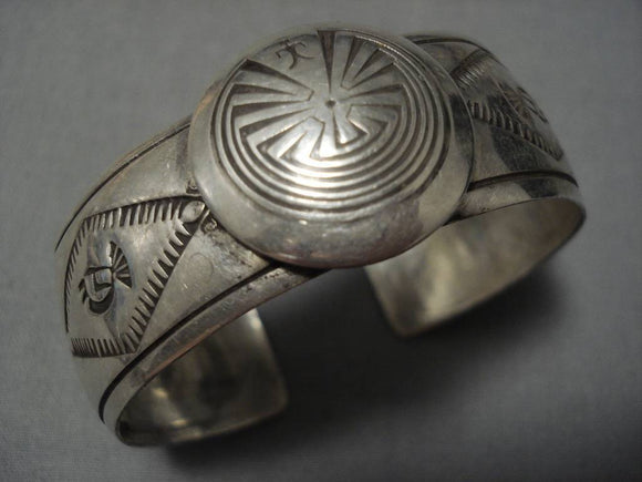 Astounding Vintage Native American Navajo Domed Sterling Silver Button Bracelet Old-Nativo Arts