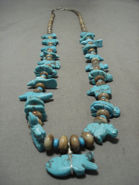 Authentic And Op Notch Vintage Navajo Turquoise Animal Fetish Native American Jewelry Silver Necklace