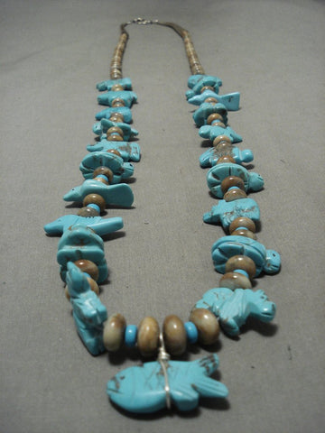 Authentic And Op Notch Vintage Navajo Turquoise Animal Fetish Native American Jewelry Silver Necklace-Nativo Arts