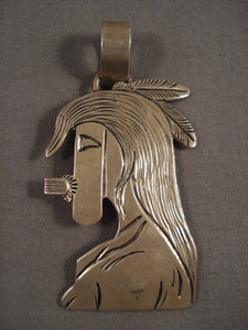 Authentic And Very Rare Vintage Navajo Becenti Kachina Huge Native American Jewelry Silver Pin-Nativo Arts