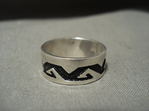 Authentic Vintage Navajo Thomas Singer Native American Jewelry Silver Rug Geometric Ring Old-Nativo Arts