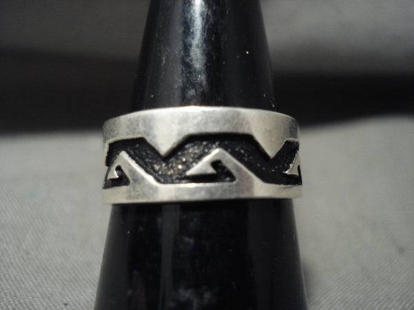 Authentic Vintage Navajo Thomas Singer Native American Jewelry Silver Rug Geometric Ring Old