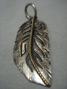 Authentic Vintage Navajo Thomas Singer Sterling Native American Jewelry Silver Pendant-Nativo Arts