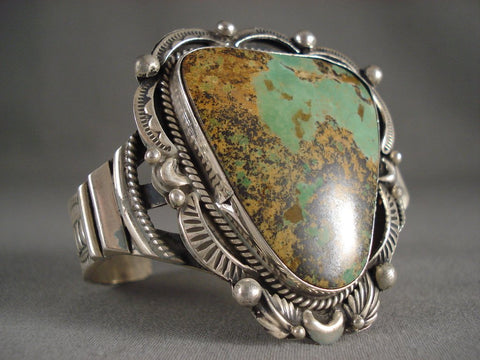 Awesome Guargantuan Navajo Royston Turquoise Native American Jewelry Silver Bracelet-Nativo Arts