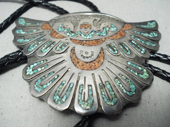 Huge Detailed Vintage Native American Navajo Turquoise Coral Sterling Silver Bolo Tie Old
