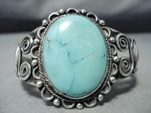 Swirls Galore Vintage Native American Navajo Domed Spiderweb Turquoise Sterling Silver Bracelet