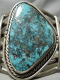 Monstrous Vintage Native American Navajo Blue Spiderweb Turquoise Sterling Silver Bracelet Old